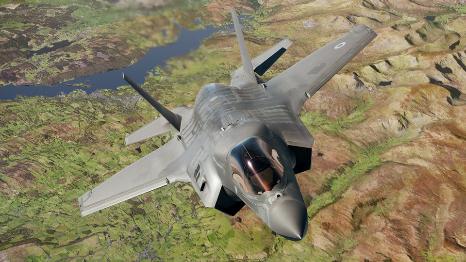 Photographic retouch of an RAF F-35B Lightning II fighter jet