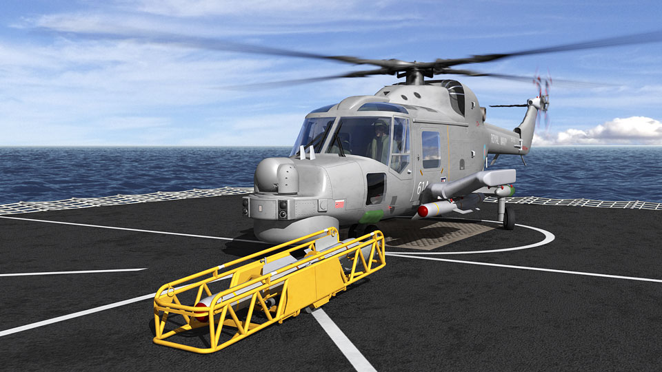 Lynx helicopter on deck of T45 3D-CGI