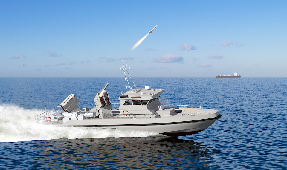 Patrol boat lauches sea spear missile 3D-CGI
